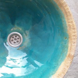 gold turquoise sink